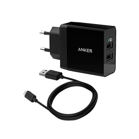 Anker 24W 2-Port USB Wall Charger And Micro USB 3ft Cable - B2021L11