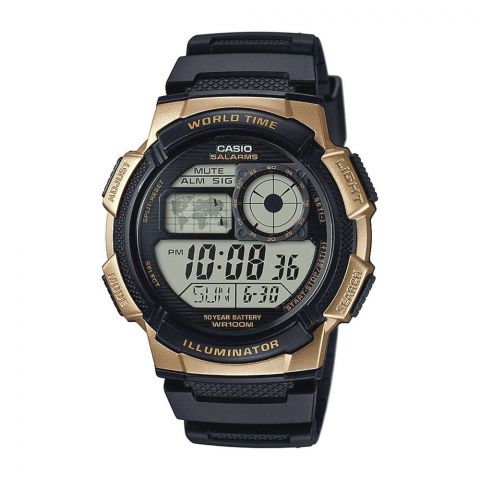 Casio Youth Illuminator Gold/Black World Time Digital Sports Men's Watch, AE-1000W-1A3VDF