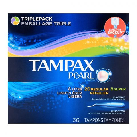 Tampax Pearl Active Plastic Lites, Regular, Super Triple Pack 36-Pack