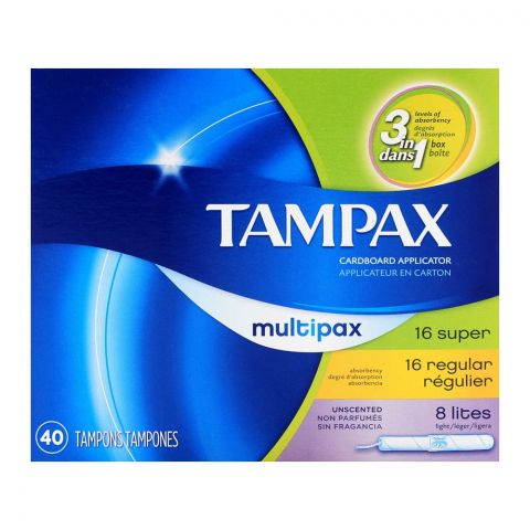 Tampax Cardboard Applicator Super, Regular, Lites Multipack 40-Pack
