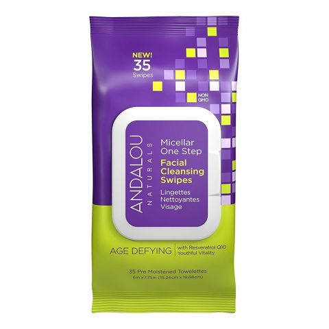 Andalou Age Defying Micellar One Step Facial Wipes, 35-Pack
