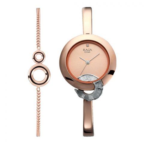 Titan Raga Analog Rose Gold Round Dial Metal Strap Watch For Women, 95051KM03