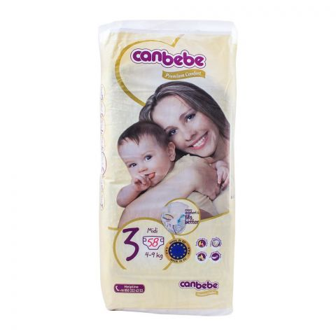 Canbebe Premium Comfort, No. 3, Midi 4-9 KG, 58-Pack Diapers
