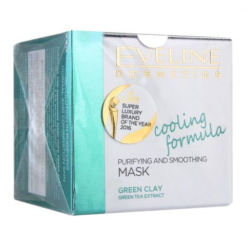 Eveline Facemed Purifying & Smoothing Green Clay Mask, Cooling Formula, 50ml