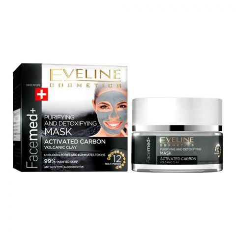 Eveline Facemed Purifying & Detoxifying Activated Carbon Clay Mask, All Skin Types, 50ml