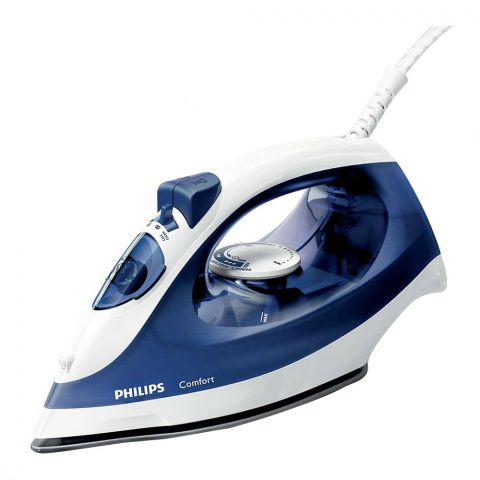 Philips Comfort Steam Iron, 1700 Watts, Steam Boost, Blue/White, GC1430
