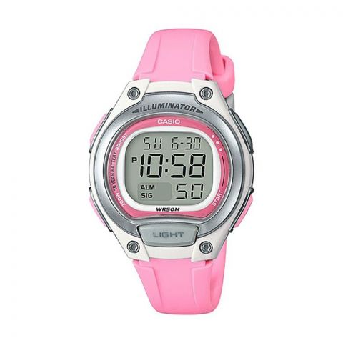 Casio Women's Grey Dial Silicone Band Watch, Pink Strap, LW-203-4AVDF