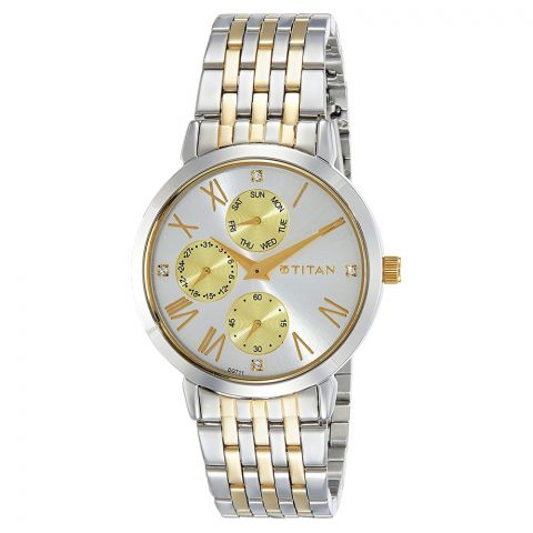 Titan Rose Gold Round Dial Stainless Steel Strap Watch For Women, 2569KM01