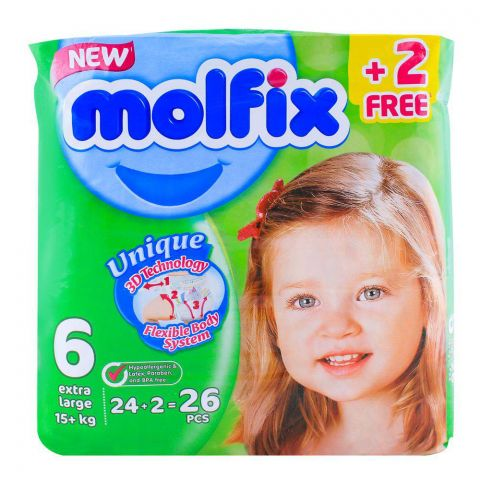 Molfix 6 Extra Large 15+ KG, 24+2 Pack