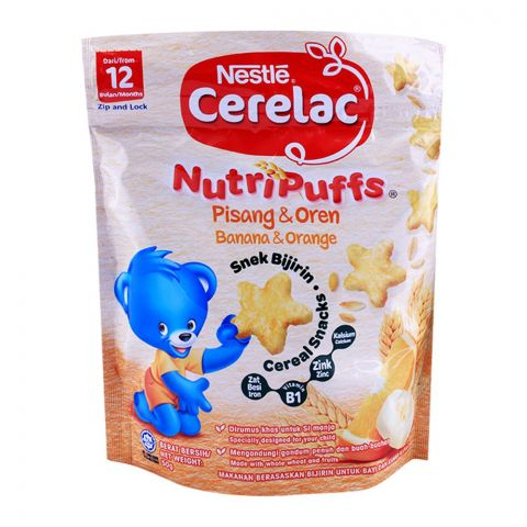 Nestle Cerelac NutriPuffs Banana & Orange Cereal Snacks 50g