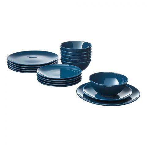IKEA Fargrik Serving 18 Piece Dinnerware Set, Dark Blue Glossy, 10330571