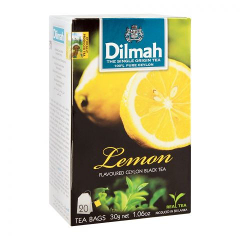 Dilmah Lemon Flavoured Ceylon Black Tea, 20 Tea Bags