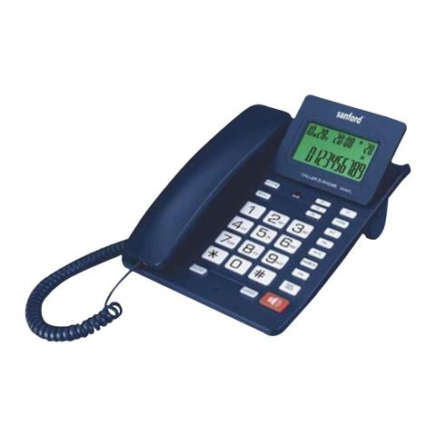 Sanford Caller ID Landline Corded Phone, Blue, SF349TL