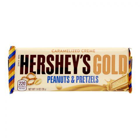 Hershey's Gold Peanuts & Pretzels Chocolate Bar, 39g