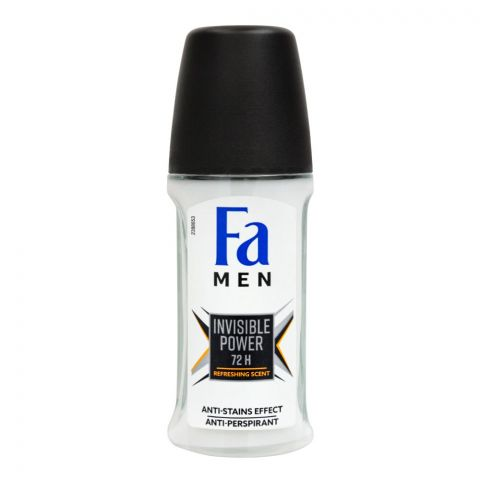 Fa Men 72H Invisible Power Refreshing Scent Roll-On Deodorant, For Men, 50ml