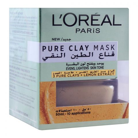L'Oreal Paris Pure Clay Mask, Evens & Lightens Skin Tone, 50ml