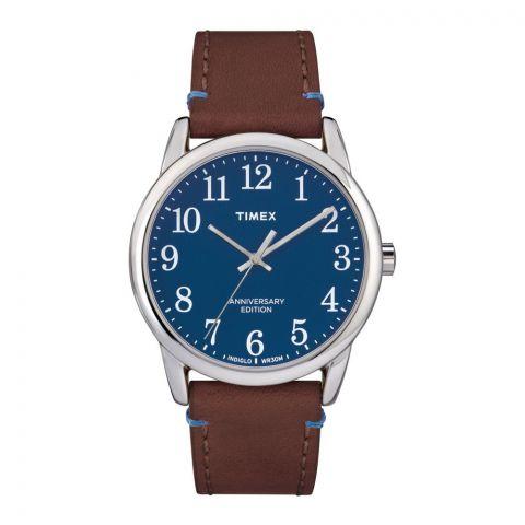 Timex Men's Easy Reader Leather Strap Watch, Brown - TW2R36000