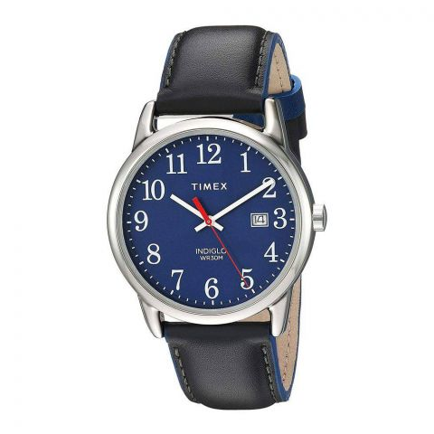 Timex Men's Easy Reader 38mm Gray/Blue Leather Strap Watch - TW2R62400