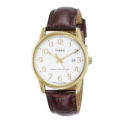 Timex Men's Easy Reader Leather Strap Watch, 38mm, TW2R65100