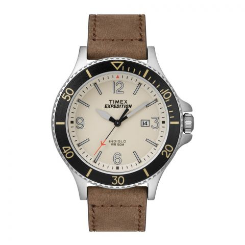 Timex Expedition Men's Cream Dial Leather Strap Watch - TW4B10600