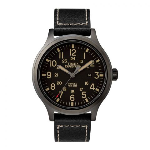 Timex Men's Expedition Scout 43 Black Leather Strap Watch - TW4B11400