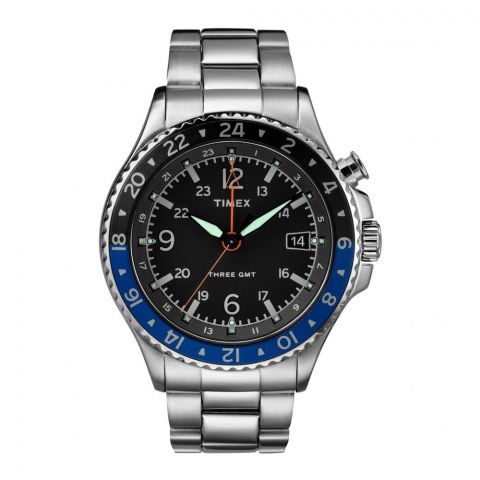 Timex Men's Allied Three GMT Stainless Steel Silver Watch - TW2R43500