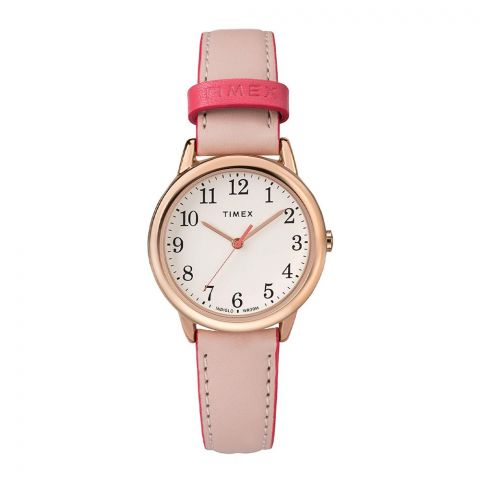 Timex Women's Easy Reader 30mm Pink Leather Strap Watch - TW2R2800