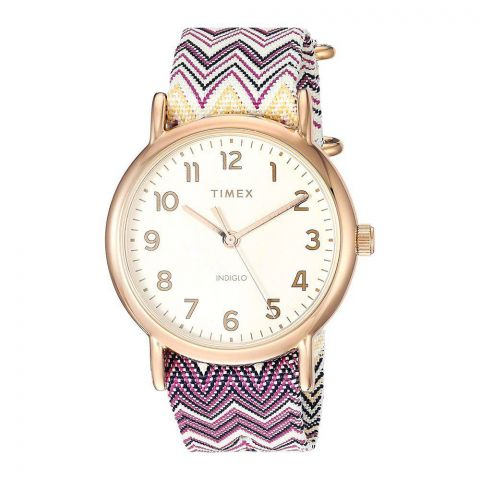 Timex Women's Weekender Gold Nylon Quartz Fashion Watch - TW2R59000