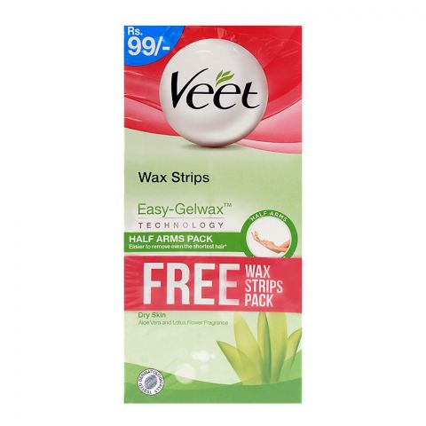 Veet Silk & Fresh Dry Skin Hair Removal Cream 2x100gm + Wax Strips Free