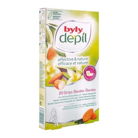 Byly Depil Effective & Natural Sweet Almond Oil Removal Body Wax Strips, 20-Pack