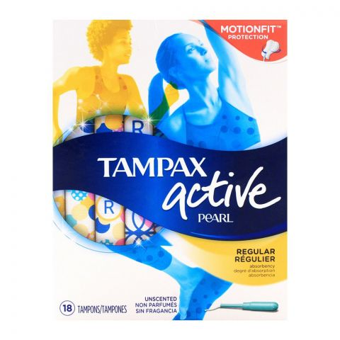 Tampax Pearl Active Regular Unscented Tampons 18-Pack