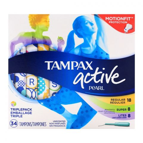Tampax Pearl Active Regular, Super, Lites Pack 34-Pack