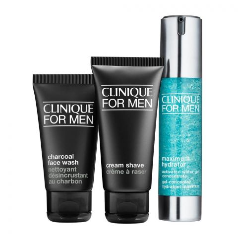Clinique For Men Daily Intense Hydration Gel + Cream Shave + Charcoal Face Wash Kit