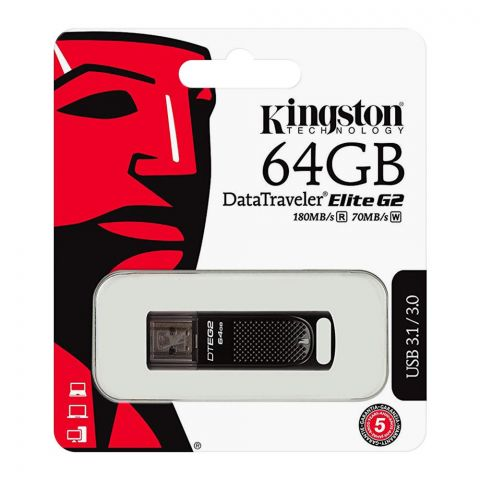 Kingston 64GB Data Traveler Elite G2 USB Drive, 180MB/s, USB 3.1/3.0, DTEG2