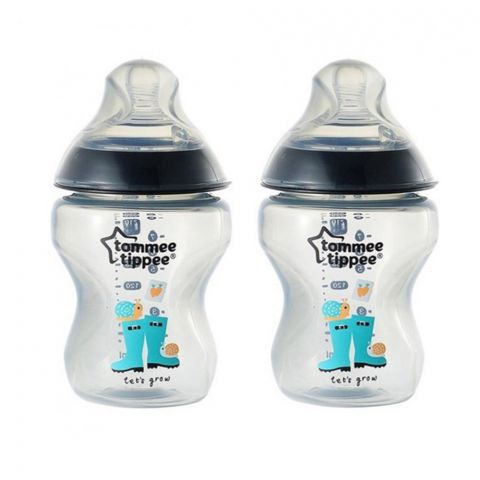 Tommee Tippee 2-Pack 0m+ Slow Flow Decorated Feeding Bottles 260ml (Black) - 422585/38