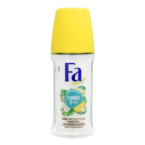 Fa 48H Protection Hawaii Love Pineapple Frangipani Scent Roll-On Deodorant, For Women, 50ml
