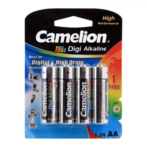 Camelion Digi Alkaline High Performance AA Batteries, 4-Pack, LR6-BP4DG