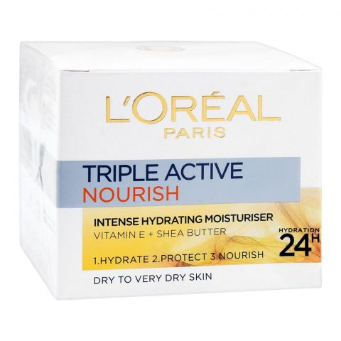 L'Oreal Paris Triple Active Nourish Moisturiser, Dry To Very Dry Skin,50ml
