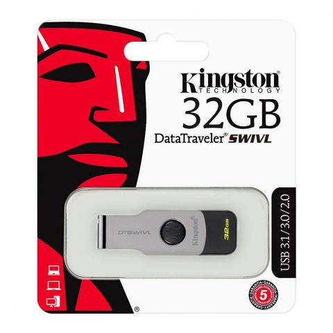 Kingston 32GB Data Traveler Swivl USB Drive, USB 3.1/3.0/2.0