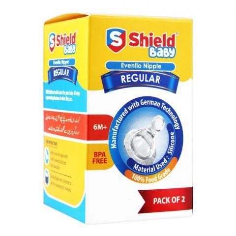 Shield Evenflo Silicone Nipple 2-Pack Regular 6+M