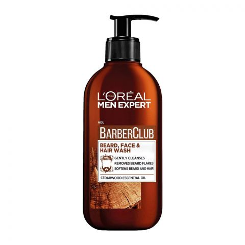 L'Oreal Paris Men Expert Barber Club Beard, Face & Hair Wash, Cedarwood Essential Oil, 200ml