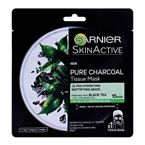 Garnier Skin Active Pure Charcoal Tissue Mask, For Oily to Combination Skin, 28g
