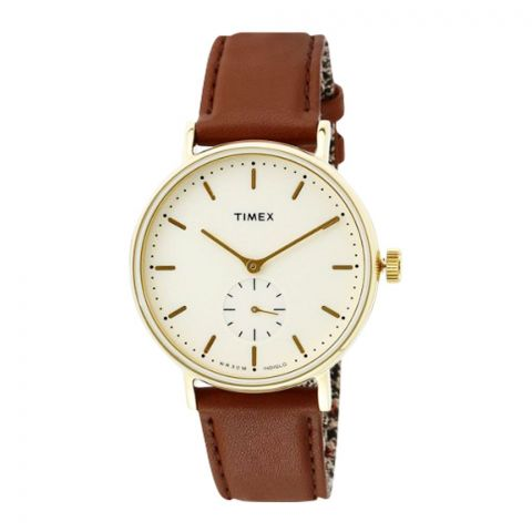 Timex Men's Fairfield Sub-Second Gold Case Cream Dial Brown Strap Watch - TW2R37900