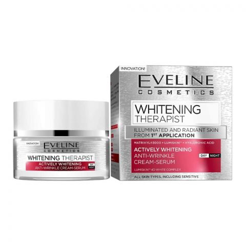Eveline Whitening Therapist Anti-Wrinkle Day And Night Cream Serum, All Skin Types, 50ml