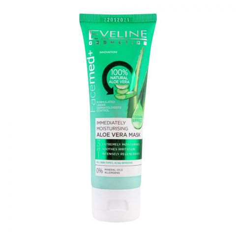 Eveline Facemed+ 3-In-1 Immediately Moisturising Aloe Vera Face Mask, All Skin Types, 50ml