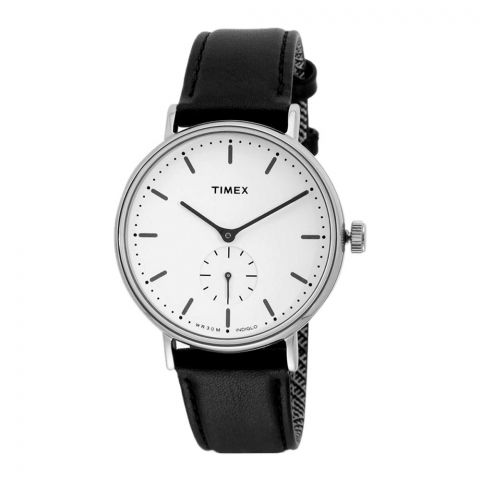 Timex Fairfield Sub-Second Silver-Tone Case White Dial Black Strap TW2R38000