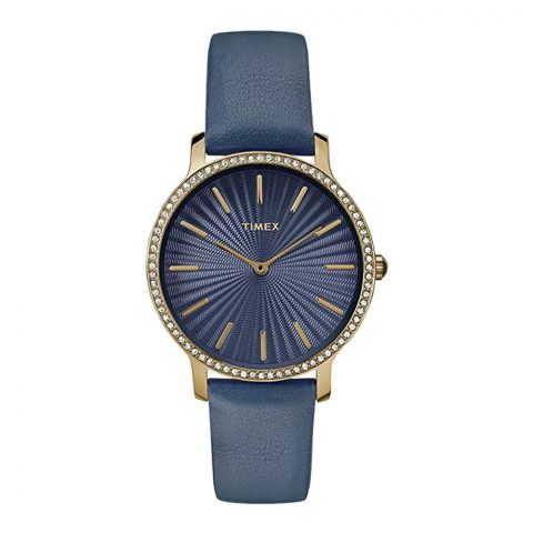 Timex Women's Metropolitan Starlight 34mm Navy/Gold Leather Strap Watch - TW2R51000