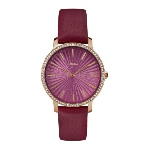 Timex Women's Metropolitan Starlight 34mm Burgundy/Gold Leather Strap Watch - TW2R51100