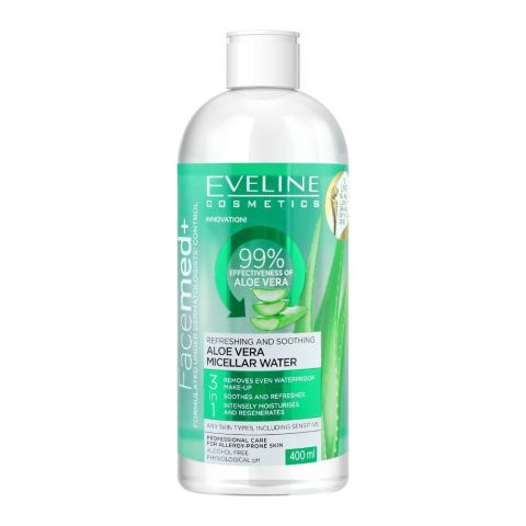 Eveline Facemed+ 3-In-1 Aloe Vera Micellar Water, Alcohol Free, All Skin Types, 400ml
