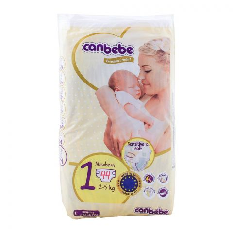 Canbebe Premium Comfort, No. 1, Newborn 2-5 KG, 44-Pack Diapers